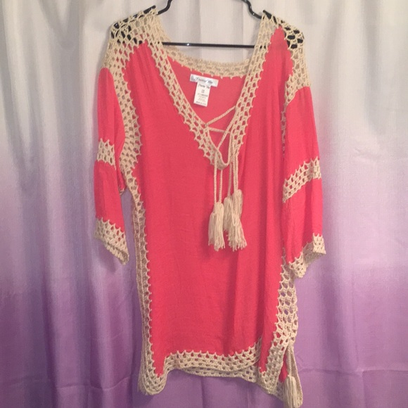 Other - Coral Crochet Swimsuit Coverup